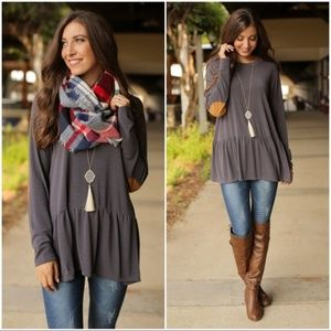 Charcoal Peplum Tunic with Vegan Suede Elbow Patch